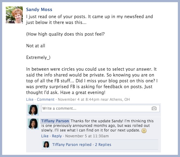 facebookpost nov4 Relevancy on Facebook Minus The Thumbs Up!