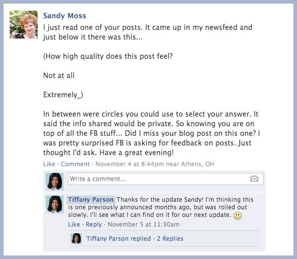facebookpost nov4 Relevancy on Facebook Minus The Thumbs Up!