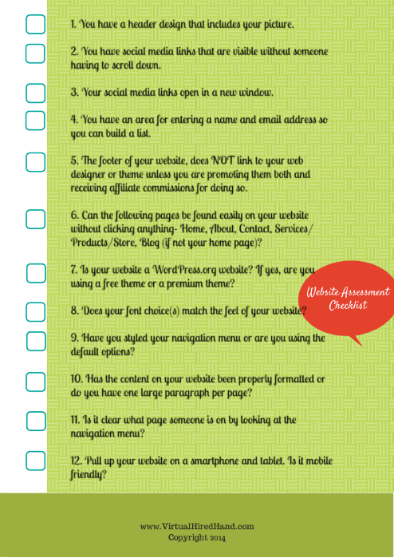 Website Assesstment Checklist